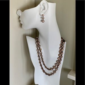 Nordstrom rose gold strand necklace & earrings
